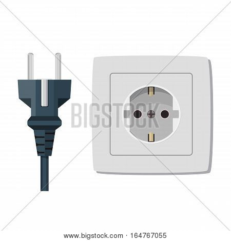 Electricity plug and socket isolated on white. Vector illustration in flat style.