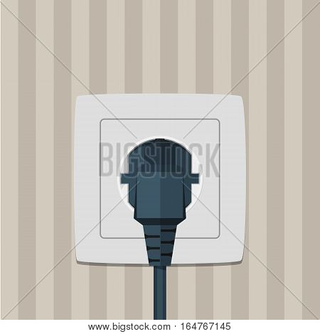 Electric plug and socket on a wall. Vector illustration in flat style.