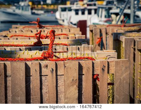 Lobster traps at a harbor in pei