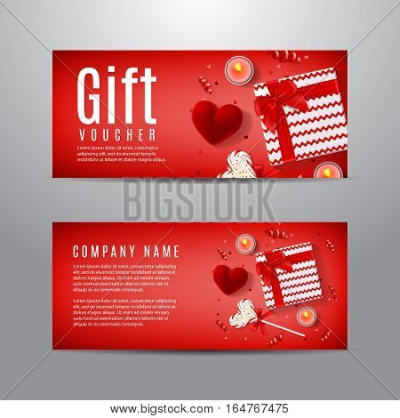 Red gift voucher for Valentine's Day. Unusual design of coupon usable for invitation and ticket. Top view on gift box, red case for ring, candles, confetti and serpentine.