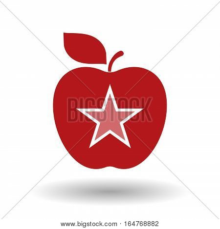Isolated Apple With  The Red Star Of Communism Icon