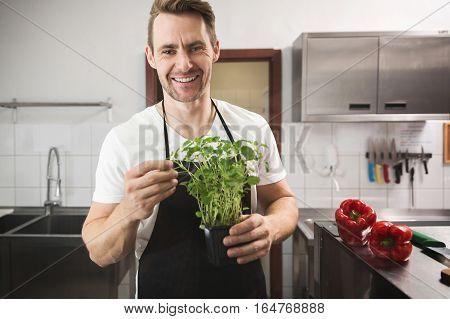 Happy Chef Holding Lemon Balm