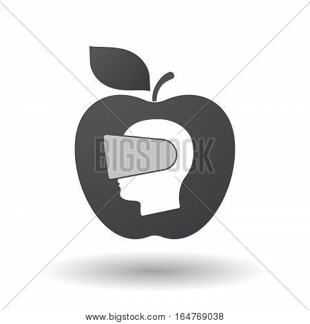 Isolated Apple With  A Male Head Wearing A Virtual Reality Headset
