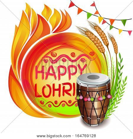 Colorful background for Punjabi festival with decorated drum (Dhol) lohri celebration bonfire wheat and greeting inscription - Happy Lohri. Vector illustration