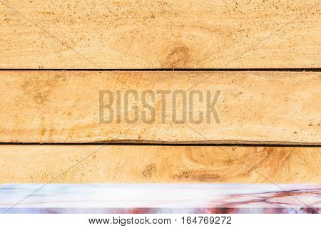 Empty top marble shelves and wooden wall background / for product display montage product display