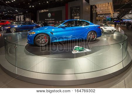 DETROIT MI/USA - JANUARY 9 2017: A 2017 Alpha Romeo Giulia car at the North American International Auto Show (NAIAS).