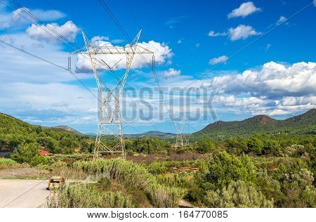 Electric power line and a landscape of the Valencian Community in Spain