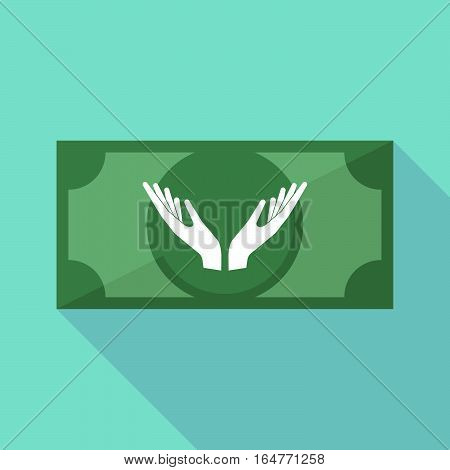 Long Shadow Bank Note With  Two Hands Offering