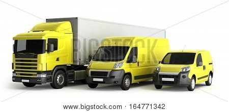 3D Rendering Of A Truck A Van And A Lorry Against A White Background