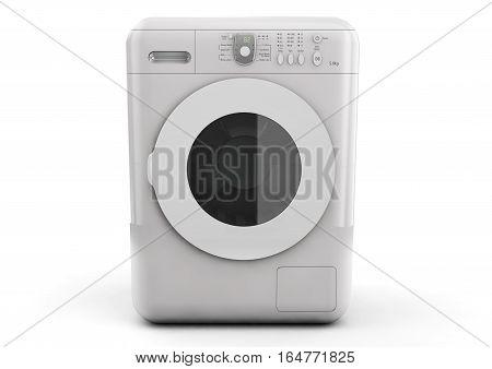 Modern Washing Machine on a white background. 3d Rendering