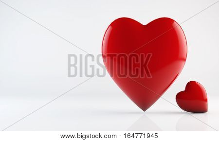 Two heart shapes red hearts. I Love You abstract composition. Sweetheart couple harmony icon concept. Valentines Day greeting card design element. Detailed 3d render.