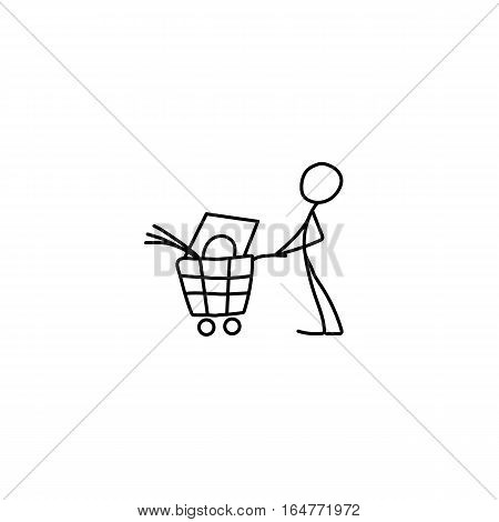 Stick figure man pushing shopping cart icon vector