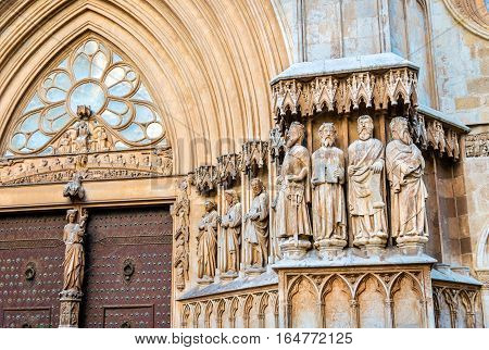 Figures of apostles in the main portal of Tarragona Saint Mary Cathedral - Catalonia, Spain