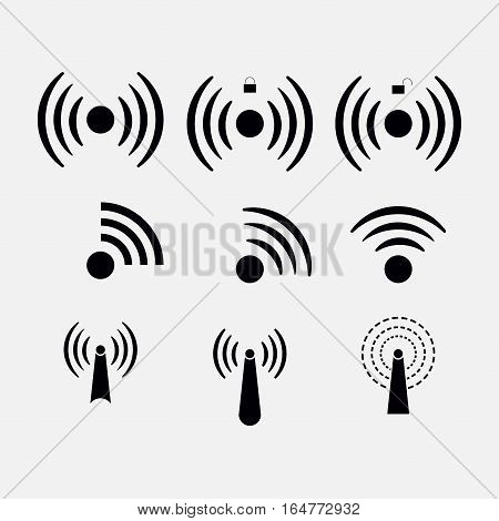 set icons Wi-fi, wireless, network coverage, Wi-fi zone, remote access, radio, communication with the aid of radio waves, fully editable vector image