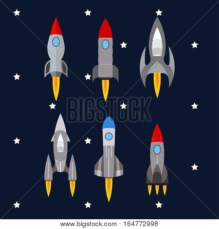 set of rockets, rocket launch into space, travel, flight, innovative development of fully editable vector image