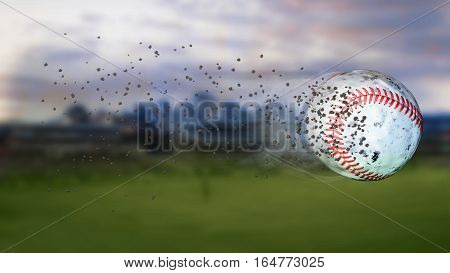 Flying baseball leaving a trail of smoke.and dust. Spinning dirty baseball, selerctive focus. 3D illustration