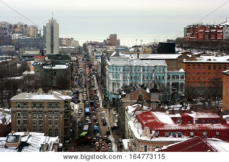 Vladivostok, Primorsky Krai, Russia December 22, 2014 - Svetlanskaya street. The architecture of the city center. Chaotic construction in the mountains in the December 22, 2014 in Vladivostok, Russia