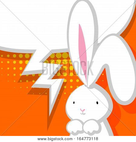 Comic bubble, empty balloon. White cute rabbit with big ears pink nose, congratulates Easter, Birthday or other holiday. Vector festive hand drawn illustration. Orange halftone background.