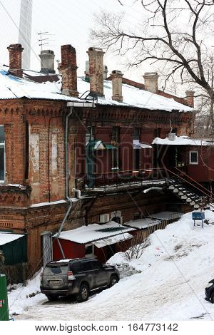 Vladivostok, Primorsky Krai, Russia December 22, 2014 - one of the oldest street in the city with houses of the 19th century in the December 22, 2014 in Vladivostok, Russia.