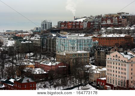 Vladivostok, Primorsky Krai, Russia December 22, 2014 - The architecture of the city center. Chaotic construction in the mountains in the December 22, 2014 in Vladivostok, Russia.