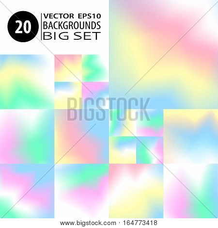Blur backgrounds set. Pastel smooth colors bundle. 20 watercolor effect abstract wallpapers. Vector illustrations collection for card templates posters printed products or web design.