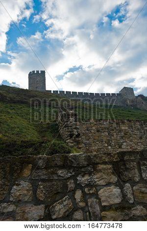 Walls and tower of Kalemegdan fortress at autumn morning in Belgrade, Serbia