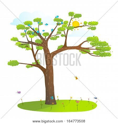 Nature empty landscape background with grass lawn flowers for kids design, colorful cartoon. Vector illustration.
