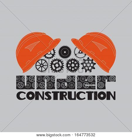 icon under construction, helmet, gear, technological mechanisms, fully editable vector image