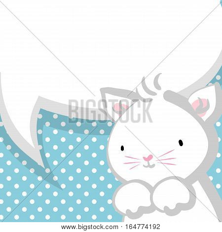 Blue halftone background. White cute little kitty pink nose for baby. Vector festive hand drawn cat illustration. Comic bubble, empty balloon.