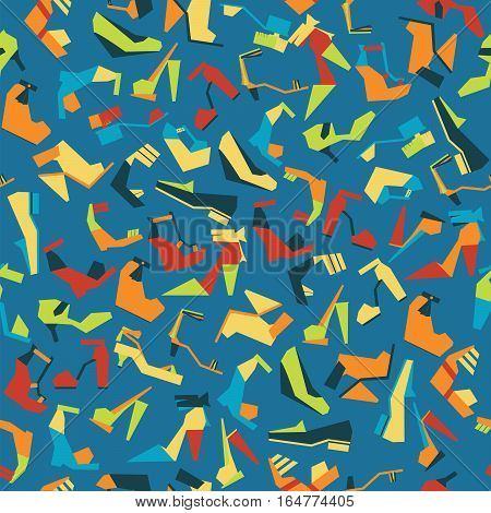 Seamless pattern with different beautiful shoes on blue background. Vector illustration with sandals shoes and heels. Tileable geometric style design for fabric pattern paper and fashion design.