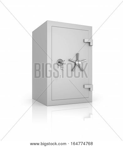 Bank Safe. Reliable And Unapproachable. Isolated On A White Background.