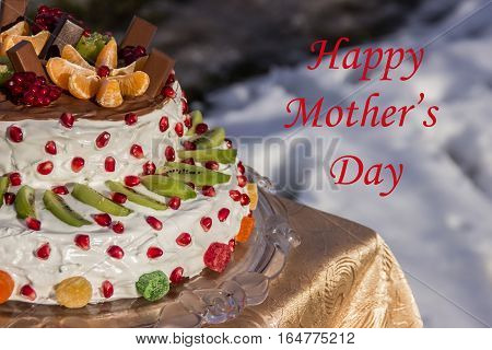 greeting card mother's day (half two-tiered cake with fruit)