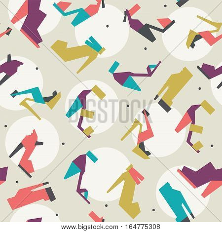 Seamless vector illustration with beautiful heels and shoes pattern with geometric shapes. Bright colors on beige background with white circles and dots. Pink purple blue and green women shoes.