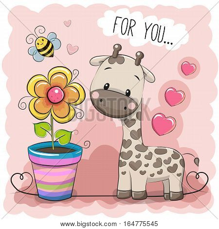 Greeting card Cute Cartoon Giraffe with a flower on a pink background