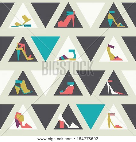 Seamless vector illustration with beautiful heels and shoes pattern with geometric shapes. Bright colors on beige background with triangles. Pink purple blue and green shoes in geometric style.