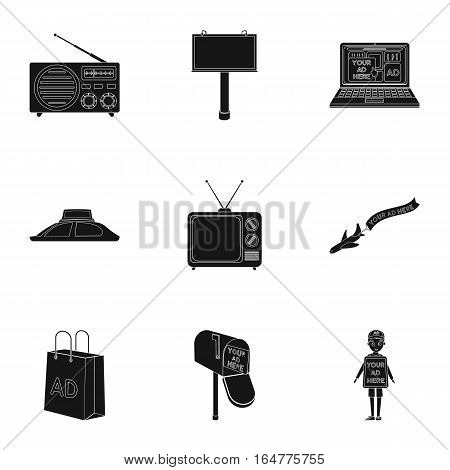 Advertising set icons in black design. Big collection of advertising vector symbol stock illustration