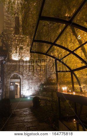 Church inside Kalemegdan fortress at foggy evening in Belgrade, Serbia
