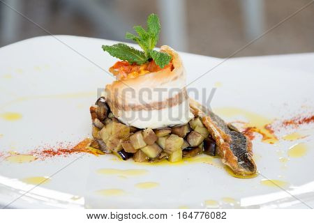 Gourmet Food In A Restaurant