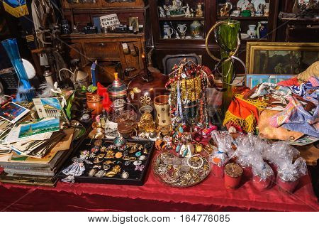 Kolomna Russia - January 03 2017: The range of the flea market designed for tourists visiting Kolomna Kremlin by Andrey Kopylov aka linkpusher
