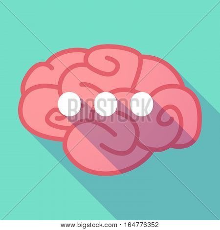 Long Shadow Brain With  An Ellipsis Orthographic Sign