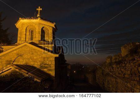 Small church inside Kalemegdan fortress at twilight, Belgrade, Serbia