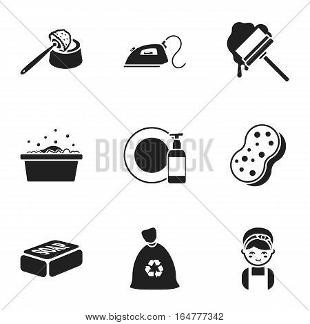 Cleaning set icons in black style. Big collection of cleaning vector symbol stock