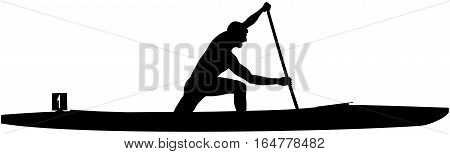 black silhouette athlete rower sports canoe sprint in paddle