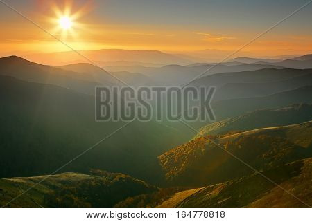 Sunset landscape in Carpathian mountains. Beautiful landscape shot.