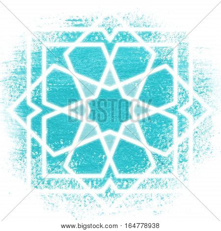 Glowing magic circle. Sacred geometry illustration. White oriental ornament on blue background. Abstract geometric background. Strange magic mandala.