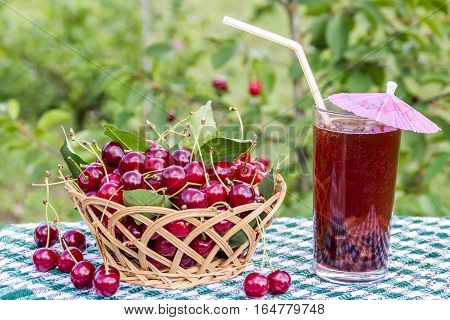 Basket of cherries and cherry beverage (compote, juice) on  background of cherry tree