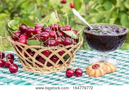 Basket of cherries and cherry jam with biscuit on  background of cherry tree