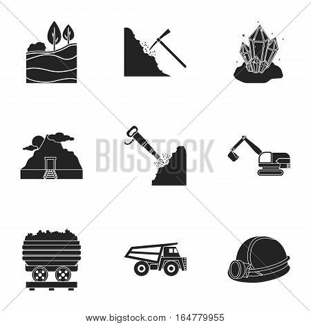 Mine set icons in black style. Big collection of mine vector symbol stock