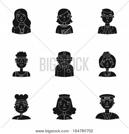 People of different profession set icons in black design. Big collection of people of different profession vector symbol stock illustration