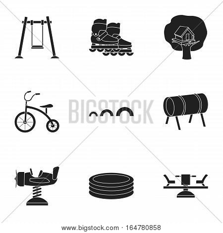Play garden set icons in black style. Big collection of play garden vector symbol stock